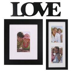 Picture frames.     3 Piece Gallery Frame Set - Love (Black)