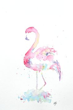 Watercolor Flamingo Painting – Original Watercolor Art, Abstract Artwork, Nursery Wall Decor, Home Decor, Animal Painting - by MABartStudio