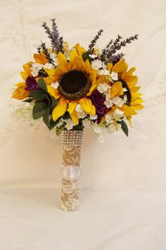 Sunflower Bouquet Rustic Wedding Bouquet Purple by FabbCreations