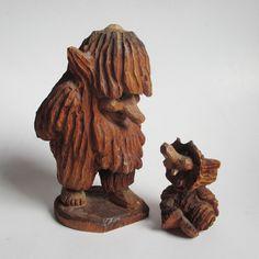Folk Art - Vintage Wood Carving - Troll - Father & Son - Norway - Henning | eBay