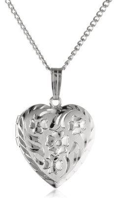 "Sterling Silver Engraved Flowers Heart Locket Pendant, 18"""
