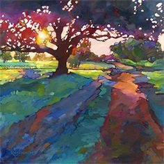 If kept out of direct sunlight these vibrant, beautiful art prints will hold their color for years. Fine Art & Illustration by KAREN MATHISON SCHMIDT. Watercolor Landscape, Landscape Art, Landscape Paintings, Watercolor Paintings, Sunset Landscape, Painting Canvas, Art Paintings, Watercolors, Art Plastique