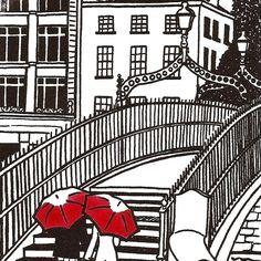 Gorgeous print of Dublin's #Ha'pennyBridge - #lovedublin