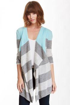 Engineered Stripe Drape Cashmere Hoodie