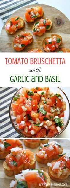 Tomato bruschetta is always a crowd favorite over the holidays, at parties or even as a quick appetizer before dinner at him. Quick and super easy to make! appetizers Tomato Bruschetta With Garlic and Basil Quick Appetizers, Appetizer Recipes, Delicious Appetizers, Italian Appetizers Easy, Tomato Appetizers, Avacado Appetizers, Prociutto Appetizers, Birthday Appetizers, Dinner Party Appetizers