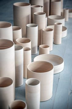 A cylinder landscape in the Tortus Studio. Handmade Danish ceramics from Tortus Copenhagen.
