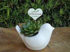12 Succulent Plant Rosette Ceramic Bird Favors by SucculentDESIGNS