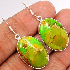 Copper Green Arizona Turquoise 925 Sterling Silver Earrings Jewelry GCTE678 - JJDesignerJewelry