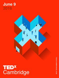 Created by San Francisco based designer: Phil Pham / philphamdesign.com -- Massachusett's TEDxCambridge event is the largest TEDx event in the world with nearly 2,000 attendees. In anticipation for the even't pivotal growth, TEDxCambridge needed updated event branding, conference wayfinding, and digital marketing to draw attendees into the ecosystem and engage them throughout the Boston Opera House. Poster Design, Graphic Design, Brand Design, Identity Design, Swiss, Simple, X, Geometric