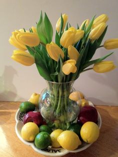 Feels Like Spring!!!  Tulips in my Kitchen make me :)