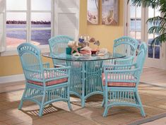 American Rattan Furniture –Cottage Attractive Dining Room Dining Table w/Glass Model By Designer Wicker - American Rattan Furniture - Cottage Furniture, Rattan Furniture, Living Room Furniture, Outdoor Furniture Sets, Porch Furniture, Coastal Furniture, Doll Furniture, Cheap Furniture, Big Comfy Chair