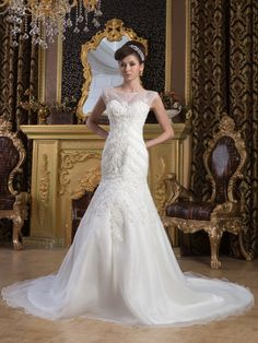 Latest Wedding Dresses from TopWedding. Sleeveless Mermaid Wedding Dress with Beading Details and Sheer Shoulder,Wedding Gowns,New Arrival,Vintage Inspired,Luxury Wedding Dresses $249.99