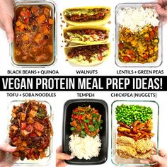protein shake to gain muscle High protein vegan meal prep ideas! Perfect for a whole food plant based week of eating. High Protein Meal Prep, High Protein Vegetarian Recipes, Vegetarian Meal Prep, Vegan Meal Plans, Vegan Protein, Vegan Foods, Healthy Recipes, Protein Foods, Plant Protein