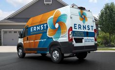 Fleet branding, and HVAC logo design for Ernst Heating & Cooling, an Illinois-based heating and air conditioning company.