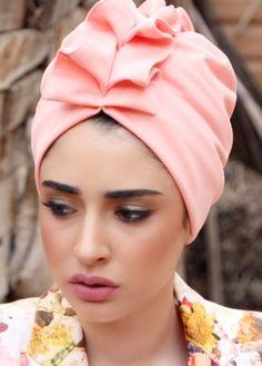 ready-to-wear Elegant fan-top turban in light Pink lycra. Great e6fcd8809f7a