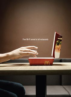 I thought this simple ad that took advantage of figure+ground did a great job. The ad is trying to show a big mac box at McDonalds to look like a laptop. It uses positioning and space of the box and the table to portry both images giving it uneven figure+ground but its simple and the design gets across the message. It is preplanned well places and the contrast of the red draws you to the red box. I think it is well done. Prospectus, Advertising Ideas, Creative Advertising, Marketing And Advertising, Advertising Design, Advertising Campaign, Fast Food Advertising, Ads Creative, Online Marketing