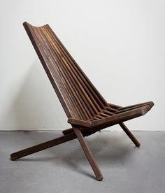 Vintage Danish Modern Teak Slatted Folding Chair: Remodelista