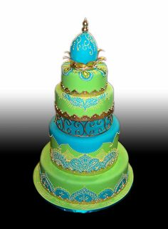 Indian Weddings Inspirations. Green wedding cake. Repinned by #indianweddingsmag indianweddingsmag.com