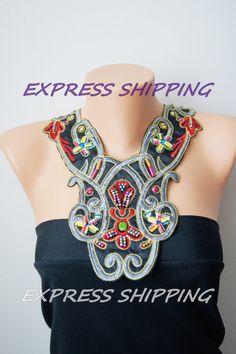 Unique Satin Bib Necklace Ethnic Collar Necklace by ArtofAccessory