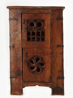 """Gothic Cupboard or """"Aumbry"""" in Walnut - Germany half of the Century Medieval Furniture, Primitive Furniture, Country Furniture, Antique Furniture, Wood Furniture, Furniture Design, Oriental Furniture, Furniture Styles, Diy Wood Projects"""