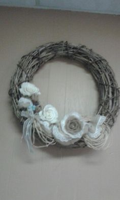 Wreath with lace and burlap roses