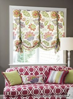 Different take on a London valance...kitchen window treatment style?
