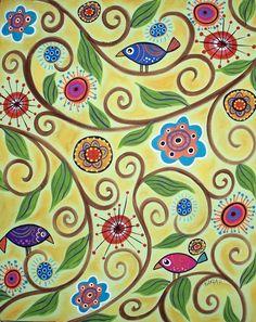 Summer Floral Vines Folk Art Bird Karla Gerard Canvas Giclee Print. $24.00, via Etsy.