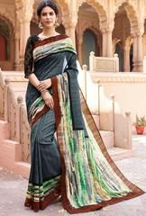 Slate Grey and Off White South Silk Saree - https://www.ethanica.com/products/slate-grey-and-off-white-south-silk-saree