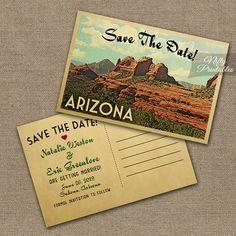 Arizona Save The Date Postcard  Vintage Travel by NiftyPrintables