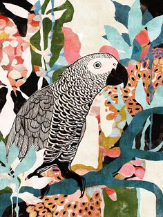"""""""Parrot In The Jungle"""" by Cozamia Art, Canada //  // Imagekind.com -- Buy stunning fine art prints, framed prints and canvas prints directly from independent working artists and photographers."""