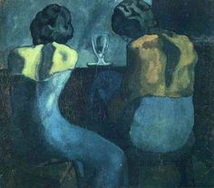 Two women sitting at a bar, 1902 by Pablo Picasso, Blue Period. Royal Academy of Arts (RA), London, UK Pablo Picasso, Kunst Picasso, Art Picasso, Picasso Blue, Picasso Paintings, Guernica, History Of Modern Art, Cubist Movement, Spanish Painters