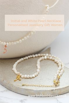Personalised initial necklaces make simple jewellery gifts for the ones you love, especially those hard to buy teenagers. White pearls add sophistication so they will be loved by women of all ages#jewellery #necklace #choker #letter #personalised #gift White Pearl Necklace, Pearl Choker Necklace, Initial Necklace, Pearl White, Simple Jewelry, Personalized Necklace, Handmade Necklaces, Gifts For Women, Jewelry Gifts