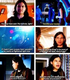 """Whenever he makes a pop culture reference. 