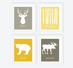 Woodland Nursery Modern Art Prints Yellow & Gray - Set of 4, Deer Head, Woods, Bear, Moose, Custom Nursery Decor, Forest Nursery - 8x10. $52.00, via Etsy.  OR! Print out cute little woodland creature silouettes from google and make these myself! #DIY