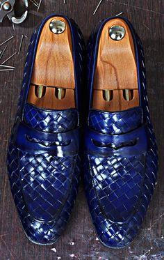 TucciPolo Digno-B Stylish Blue Chequeboard Woven Calfskin Handmade Italian Leather Loafer Shoe