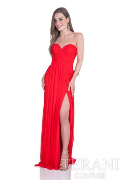 Strapless A-line prom gown with sweetheart neckline and ruched mesh at the bodice. This prom dress is finished with a thigh high slit at the left leg.