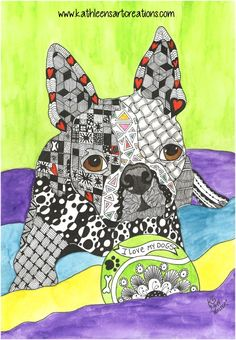 "Whimsical Zentangle® Inspired Boston Terrier named ""Walter"". Completed September 16, 2014. A 12-pack of note cards are available for $23.00 with FREE shipping and handling. Prints also available plus much more."