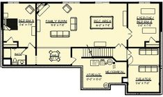 Your basement flooring options are not really any different from the flooring options elsewhere in your home. Everything from ceramics to hardwood, all are possible choices for your basement floor… Basement Built Ins, Basement Layout, Basement Ideas, Basement Bedrooms, Basement Floor Plans, Basement Flooring, Walkout Basement, Ranch House Plans, Dream House Plans