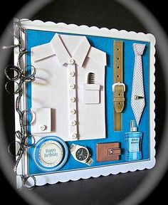 """Blue Striped Men s Accessories 8x8 Square Card Mini Kit on Craftsuprint designed by Sandie Burchell - made by Cynthia Massey - Reduced the size by 5% and mounted onto white 8 x 8"""" card, decoupaged with foam pads, tied black and silver ruffled ribbon round the spine, added a silver comb, small white buttons, tie pin, punched holed in the belt, a diamond to the watch and to finish I addd the matching insert available separately, a great design for the modern man for any occasion. - Now ..."""
