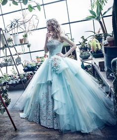 Ice blue strapless ballgown