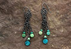 ad0e7d1fd Oxidized Sterling Silver Turquoise Earrings - Oxidized Silver - Turquoise  Jewelry - Green Blue Earrings - Black Silver - Sherry Tinsman