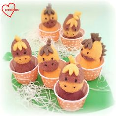 Loving Creations for You: Horse Orange Milo Chiffon Cupcakes Chiffon Cake Ingredients, Barn Cake, Horse Cupcake, Orange Chiffon Cake, Cowgirl Baby Showers, Cute Cupcakes, Confectionery, Mini Cakes, Melting Chocolate