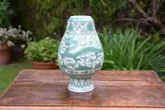 Stunning,Ming chenghua,ming vase,chinese porcelain,dragon,small vase,phoenix,chinese,chinese dragon,gift,home decor,unique gift,vintage vase by samclarkguitars on Etsy