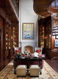 Love the painting in the middle  --North Dallas Residence - traditional - home office - dallas - Dallas Design Group, Interiors