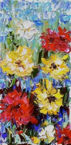 Palette Knife Flower Art Painting Happy Day by Colorado Impressionist Judith Babcock -- Judith Babcock