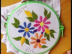 Hand Embroidery Designs # 130 - Wine stitch flower design - YouTube