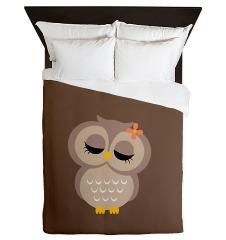 Cute Brown Owl Designer Duvet Cover