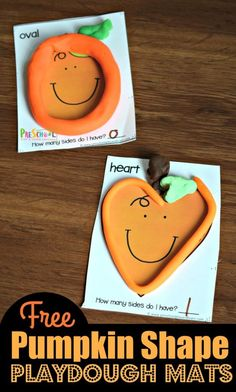 FREE Pumpkin Shapes Playdough Mats - fun, hands on math activity for preschoolers to work on shape recognition with a fall kids activity Playdough Activities, Autumn Activities For Kids, Preschool Learning Activities, Preschool Worksheets, Preschool Activities, Shape Activities, Free Worksheets, Play Doh Knete, Play Dough