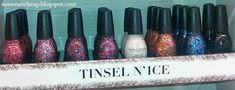 Sinful Colors Tinsel n' Ice Collection: 1394 Pink Icicles, 1396 Tinsel & Shine, 1393 Cold As Ice, 1391 Gold Tinsel, 1392 Tinsel Town Sinful Colors Nail Polish, Nail Colors, Christmas Nail Art, 12 Days Of Christmas, Pattern Art, Art Patterns, Drugstore Makeup, Art Challenge, Toe Nails