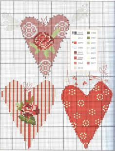 Hearts cross stitch chart